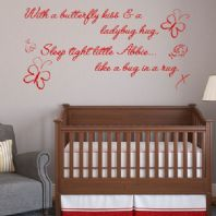 Personalised With a Butterfly Kiss ~ Wall sticker / decals